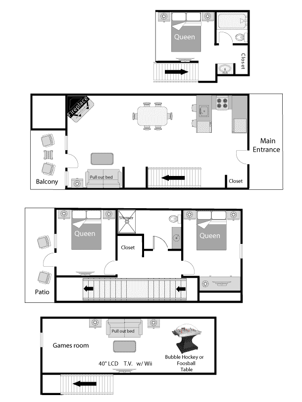 Premier two bedroom with loft condo games hidden ridge for House plans with game room