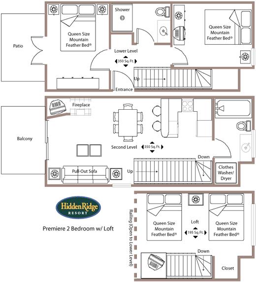 The premier two bedroom loft condo at the hidden ridge for 4 bedroom loft floor plans