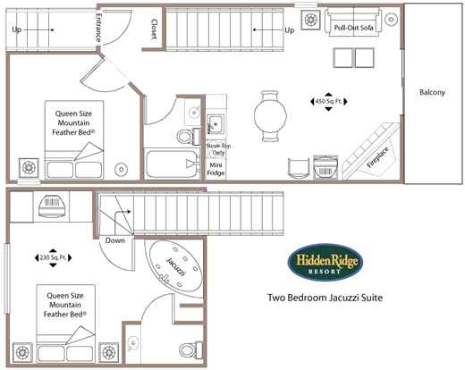 floor plan - Two Bedroom Jacuzzi Condo