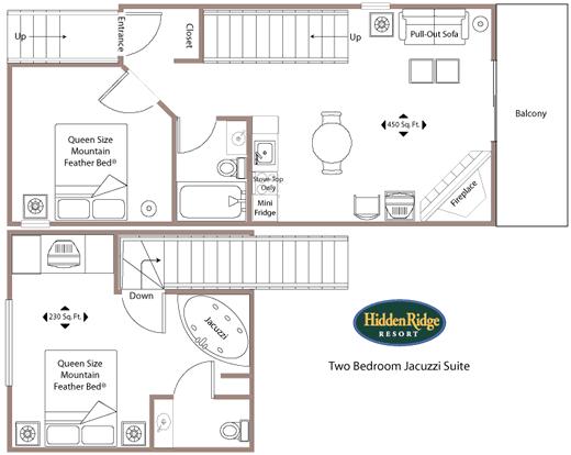 floor plan - Two Bedroom Jacuzzi Condo